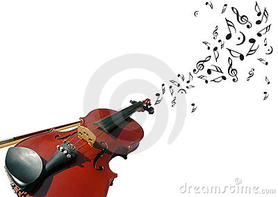 Violin with music notes