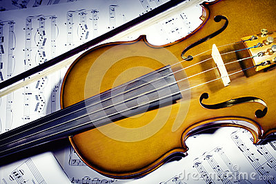 Violin with music sheet notes