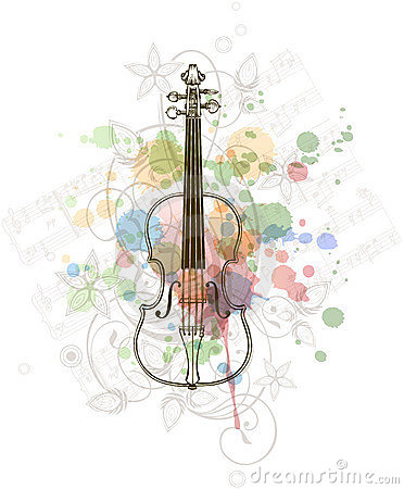 Violin, music sheets on the color paint