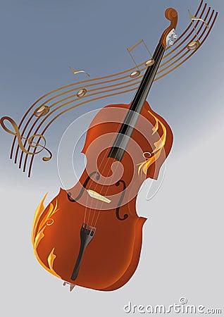 violin, musical notes