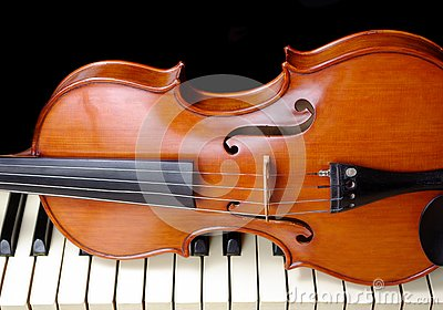 Violin and piano.. copy spaces. Stock Photo