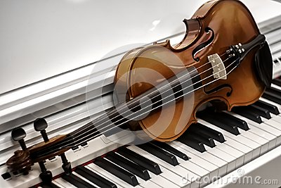 Violin piano keys on the background Stock Photo