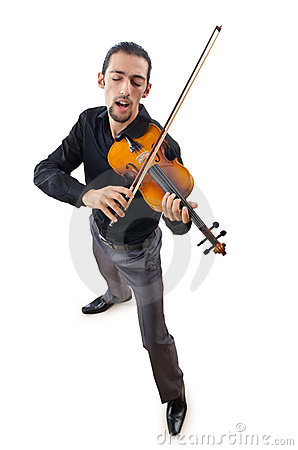 Violin player isolated