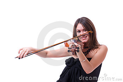 Violin player posing