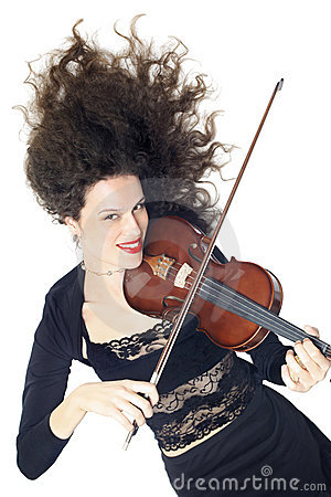 Violin playing beautiful woman violinist