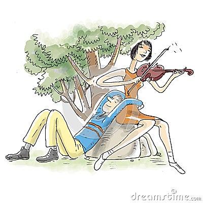 Violin playing couple
