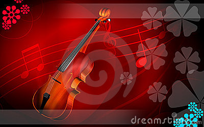 Violin  in red background