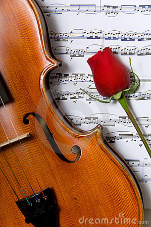 Free Violin, Rose And Sheet Music Stock Photography - 2889772