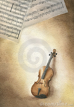 Violin and score - watercolor