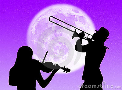 Violin and trumpet players in the moon