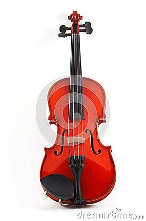 Violin upright on white backgr