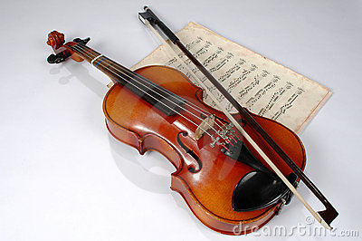 Violin and Vintage Music Sheet