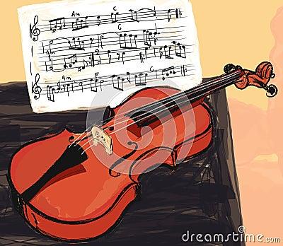 Violin in watercolor style