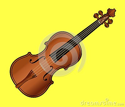Violin on Yellow Background