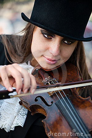 Violinist, close portrait