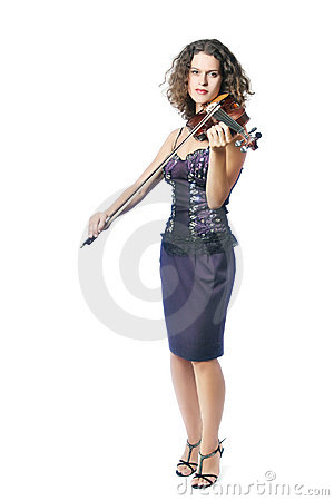 Violinist woman violin playing