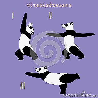瑜伽熊猫virabhadrasana姿势例证.