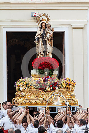 Virgen del Carmen getting out of the church Editorial Stock Photo