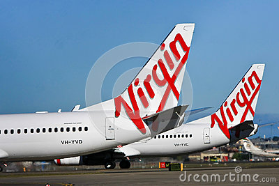 Virgin Airlines Australia aircraft logo Editorial Stock Image