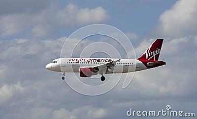 Virgin American Passenger Jet Airliner Editorial Stock Photo