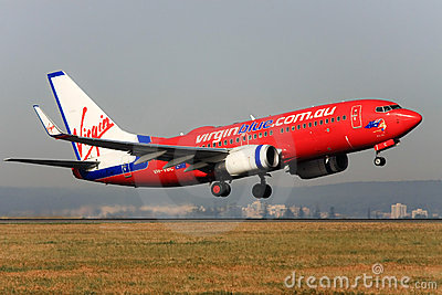Virgin Blue Boeing 737 taking off. Editorial Photography