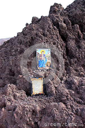 Virgin Mary against mount Vesuvius, Naples, Italy