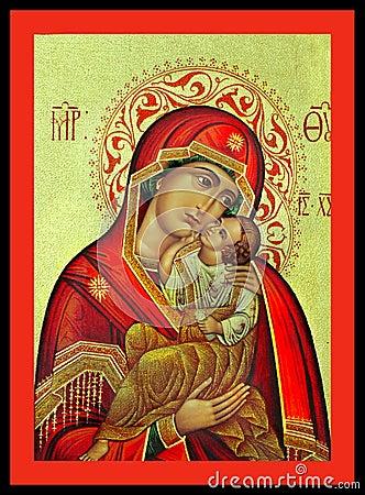 Free Virgin Mary And Jesus Greek Icon Royalty Free Stock Photos - 62155398