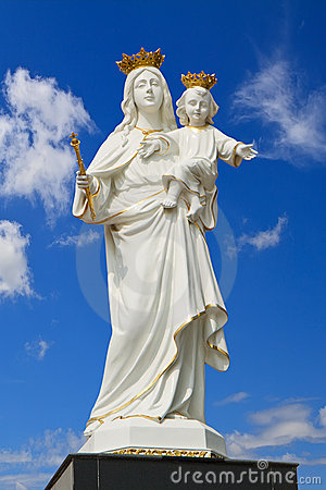 Virgin Mary  with Baby Jesus on blue sky