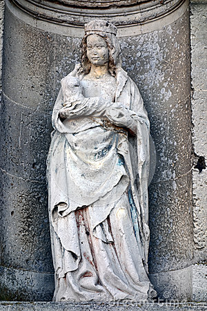 Virgin Mary with Child Sculpture in Church Alcove