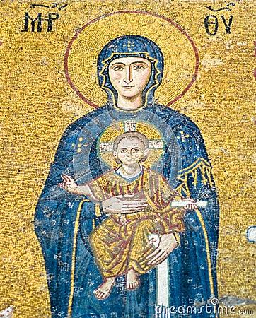 Virgin Mary mosaic at Hagia Sophia