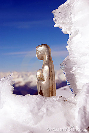 Virgin Mary in the snow