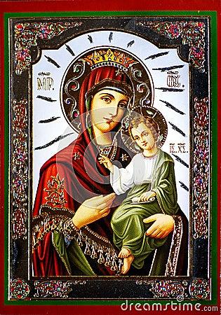 Free Virgin Mary With Jesus Icon Stock Image - 7716661