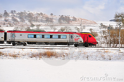 Virgin Train in the Snow Editorial Photo