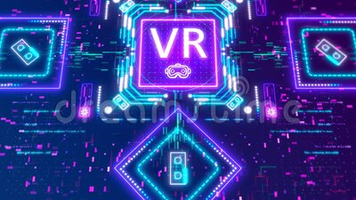 Virtual Or Augmented Reality Concept Background. Futuristic Interface Animation Stock Video ...