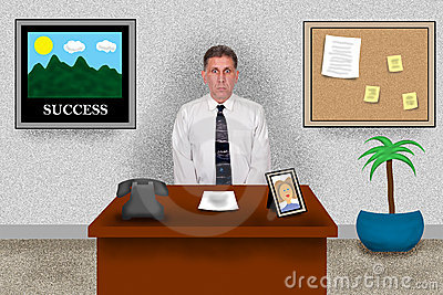 Virtual Business Office, Man Sitting at Work Desk