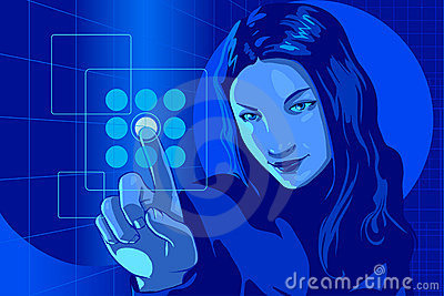 Virtual Hacker Girl Blue
