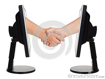 Virtual handshake - internet business concept
