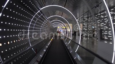 Virtual led light futuristic hallway Time Tunnel  in modern building stock video footage