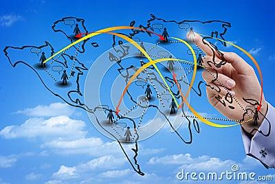 Virtual map of an international social network
