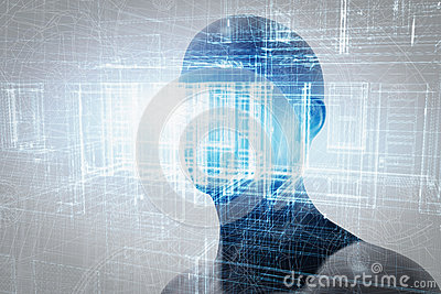 Virtual reality projection. Future science with modern technology, artificial intelligence Stock Photo