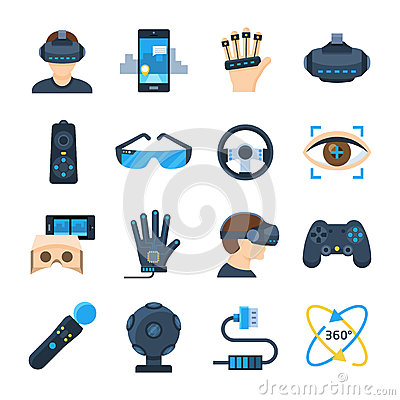 Virtual reality vector icon set in flat style Vector Illustration