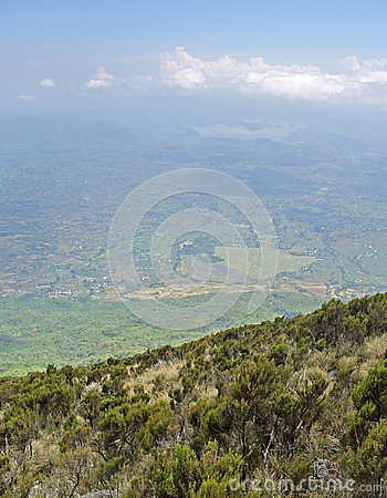 Virunga Mountains aerial view