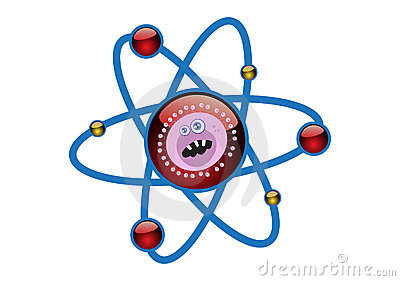 Virus in an Atomic Cell Structure Illustration