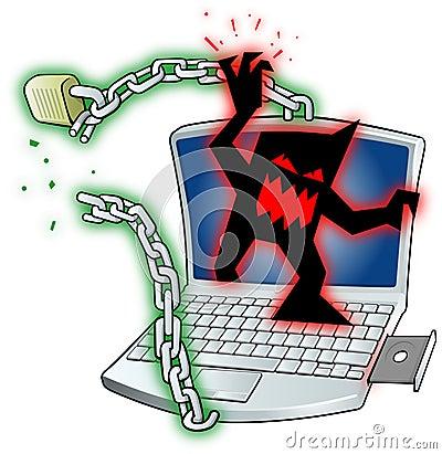 Virus breaking laptop security