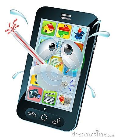 Virus Mobile Cell Phone Cartoon Stock Vector Image 43386728
