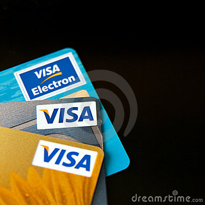 Visa credit cards Editorial Stock Photo