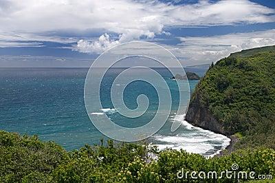 Visión desde el puesto de observación de Pololu, isla grande, Hawaii