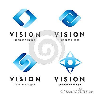 Vision. Eye logo set. Creative camera media icons. Video control signs. Vector Illustration