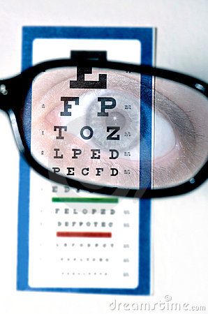 Vision test with eye