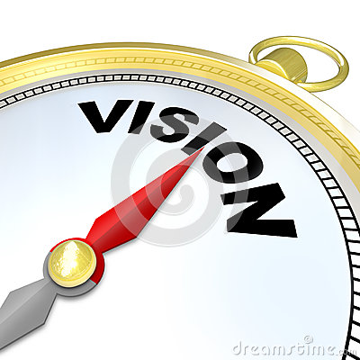 Vision Word on Gold Compass Plan Direction Strategy